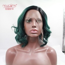 Black to green Two Tones Color Wigs Synthetic Fiber Ombre Hair body wave Lace Front Wigs