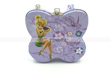 Butterfly Shape Cartoon Printed Lunch Box Tin Can with Handle