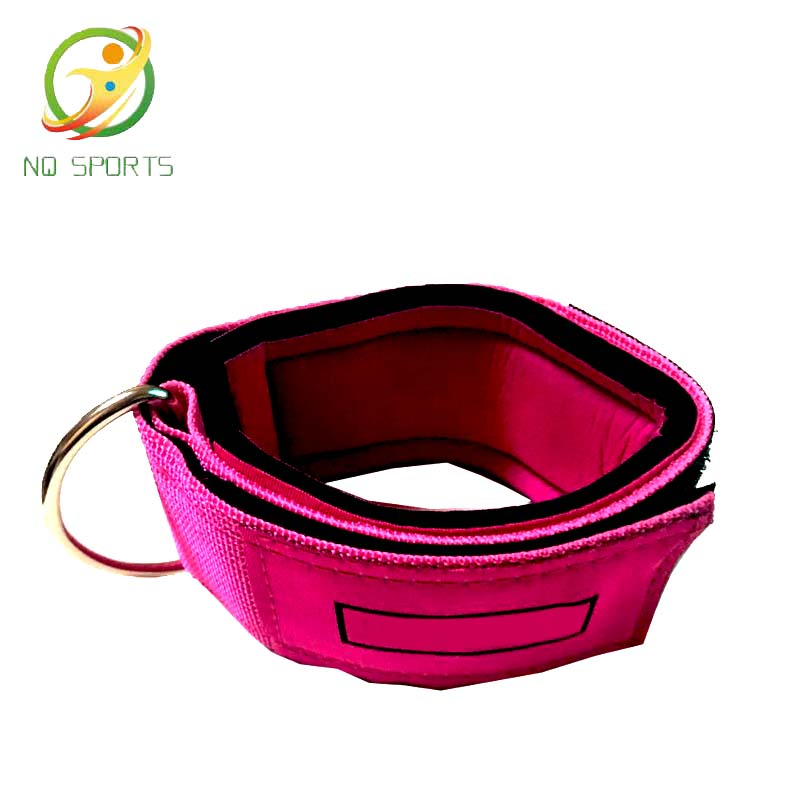 Custom logo pink <strong>fitness</strong> ankle straps with neoprene for resistance bands for Workout <strong>Fitness</strong>