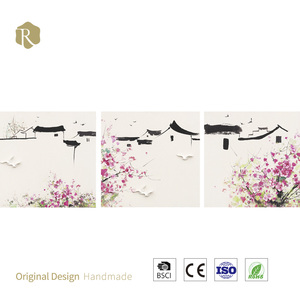 Hot sale new design 100% handmade 3d modern chinese style scenery oil painting on canvas