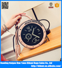 2017 new style women's PU shoulder bag mini PU clock handbag fashion tassel Small round bag