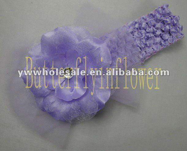 Fashion Lavender color Baby Girl Vintage Lace Flower Headbands Toddler Headband 1.5''crochet lace headbands with flower