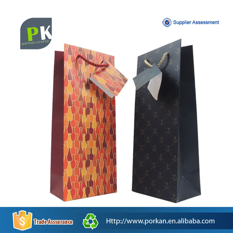 Cangnan Manufacture Paper Package Gift Bag for 1 Wine Bottle