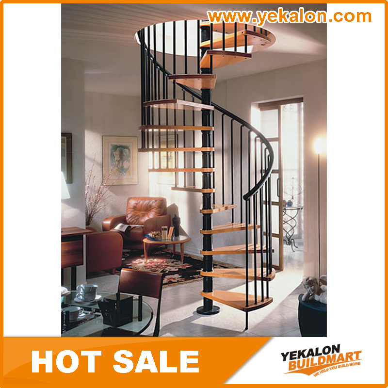 YeKalon Indoor Wood Step Iron Spiral Staircase