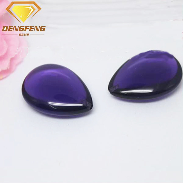 Pear Shape Double Cabochon Cut Gemstone Hydrothermal Amethyst Quartz