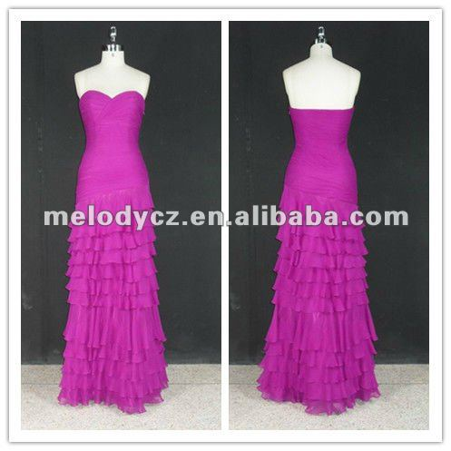 Traditional artificial ruffle fushia formal evening party hand made dresses