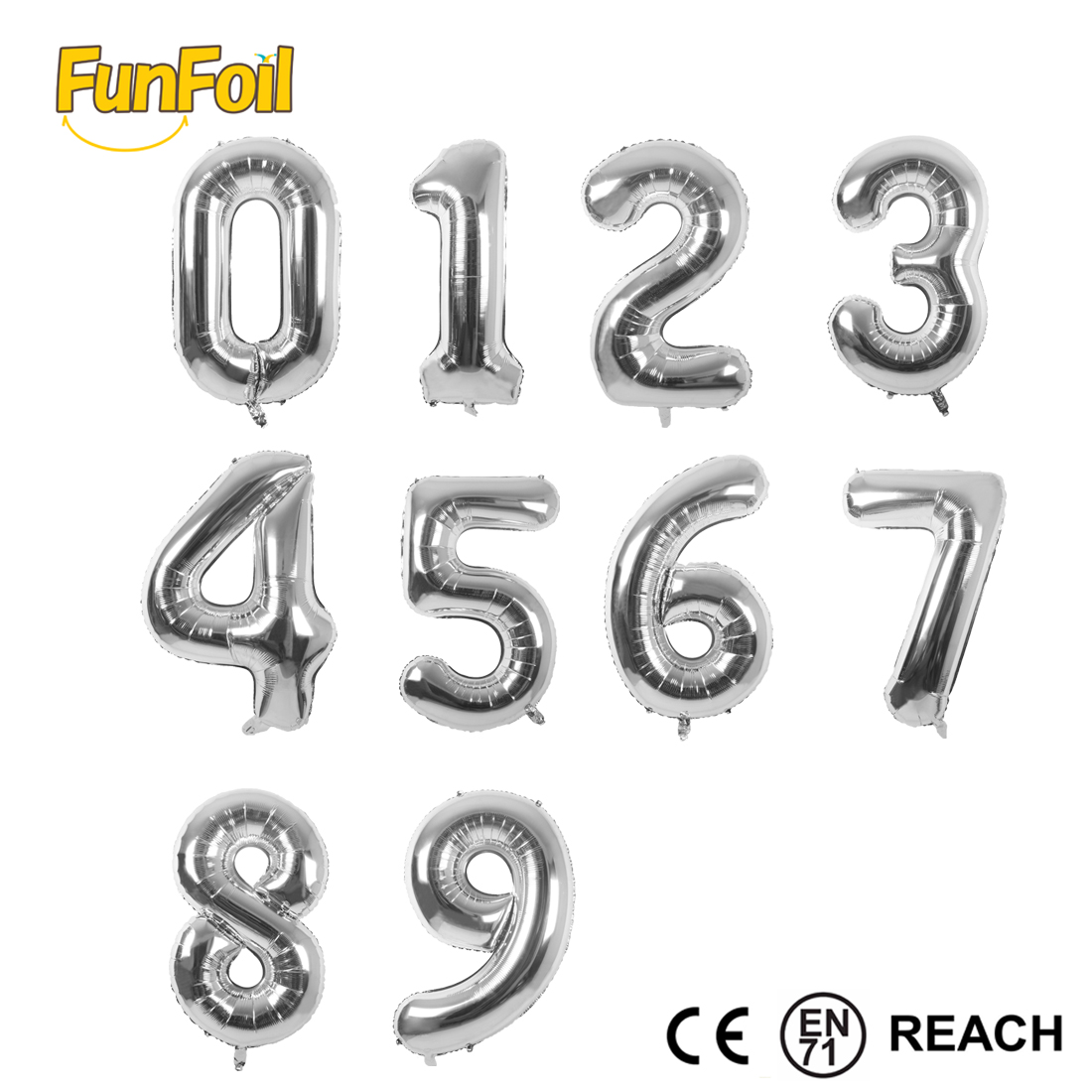 16 inch Funfoil online China factory lucky number foil balloon shipped by <strong>DHL</strong>