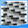 Vogue Premium Quality Botticino Marble Gold Glass Mixed Brick Pattern Mosaic Tile for Backsplash and Bathroom...
