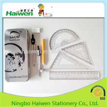 8pcs good quality school stationery math set