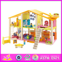 2015 new children wooden doll house,high quality kids wooden doll house,popular baby wooden doll house W06A057-D7