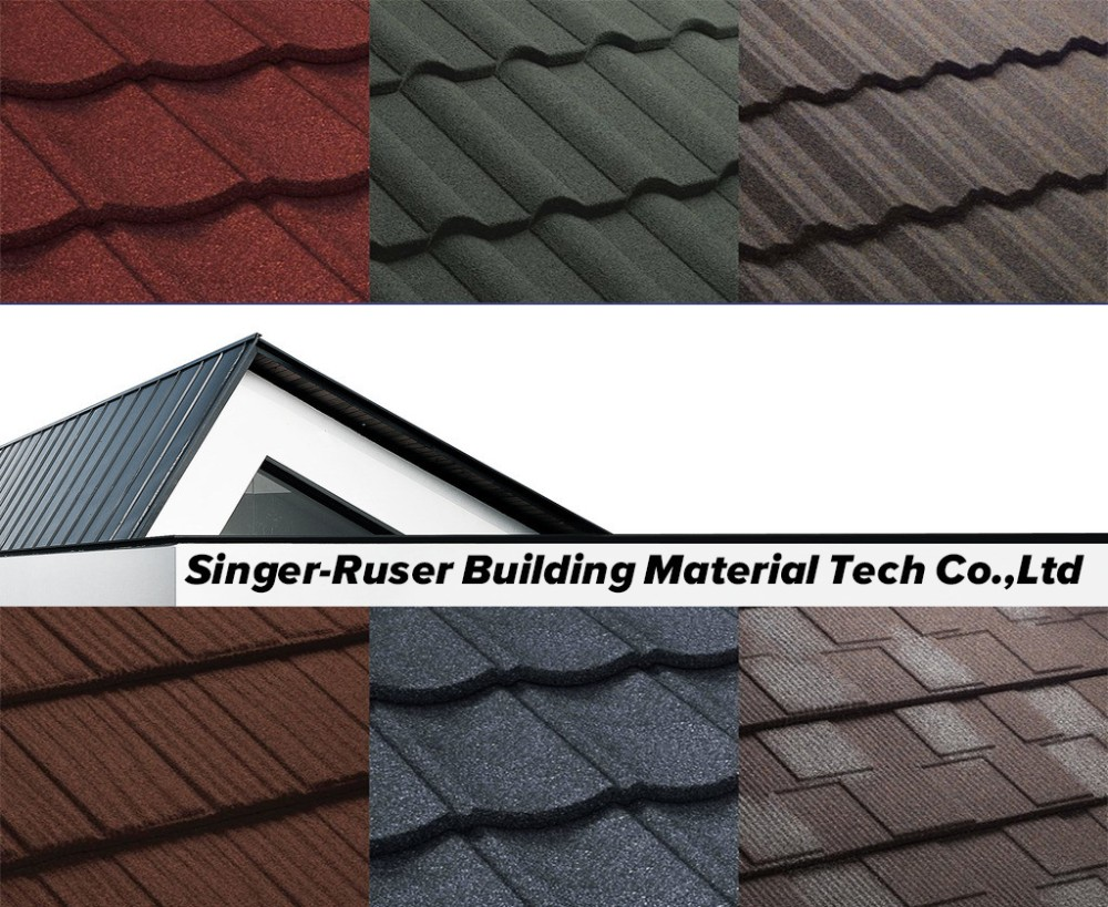 Singerruz Metal Roofing with Color Sand Stone Chips Mosaic Tile Asphalt Shingle Lightweight Roofing Material Blue Hexagon Tile
