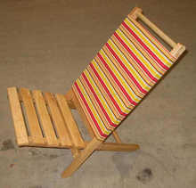 Wood canvas deck chair, outdoor wooden deck chair