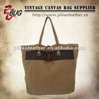 2012 Vintage Design Cotton Canvas Tote Bag With Leather For Men/Women/Teens/Young