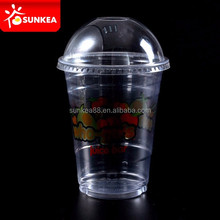 Logo printed clear 12oz disposable plastic smoothie cups with lids