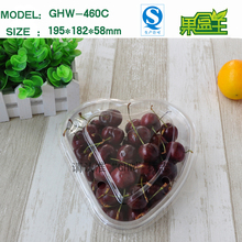 New products transparent heart shaped flat plastic cherry fruit storage packaging box