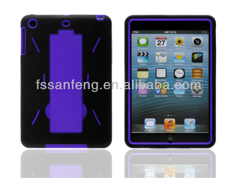 3 parts pc silicon combo gel case for ipad mini cover case/spot stand case for ipad mini back cover/3 in 1 case for ipad mini
