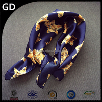 GDA0051 Stars painted black and blue women charming fashionable silk satin scarf