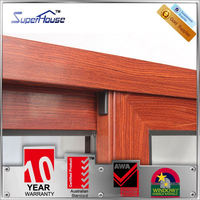 2015 New wood grain two track aluminum sliding window with 10 years guarantee