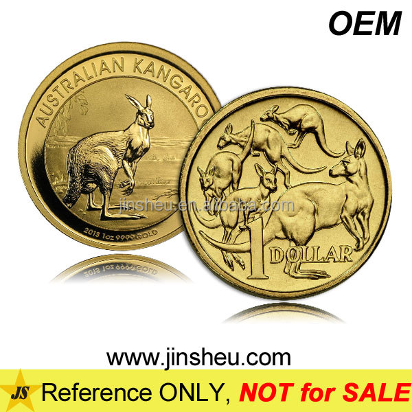 Cheap AU Souvenir Gift Custom Brass Plated Gold Kangaroo Australian Coin