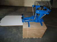 Economical manual 4 color 1 station t shirts carousel silk screen printing press