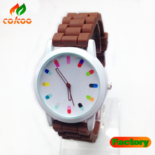 2014 Geneva Silicone Golden Crystal Stone Quartz Ladies/Women/Girl Jelly Wrist Watch Candy Colors
