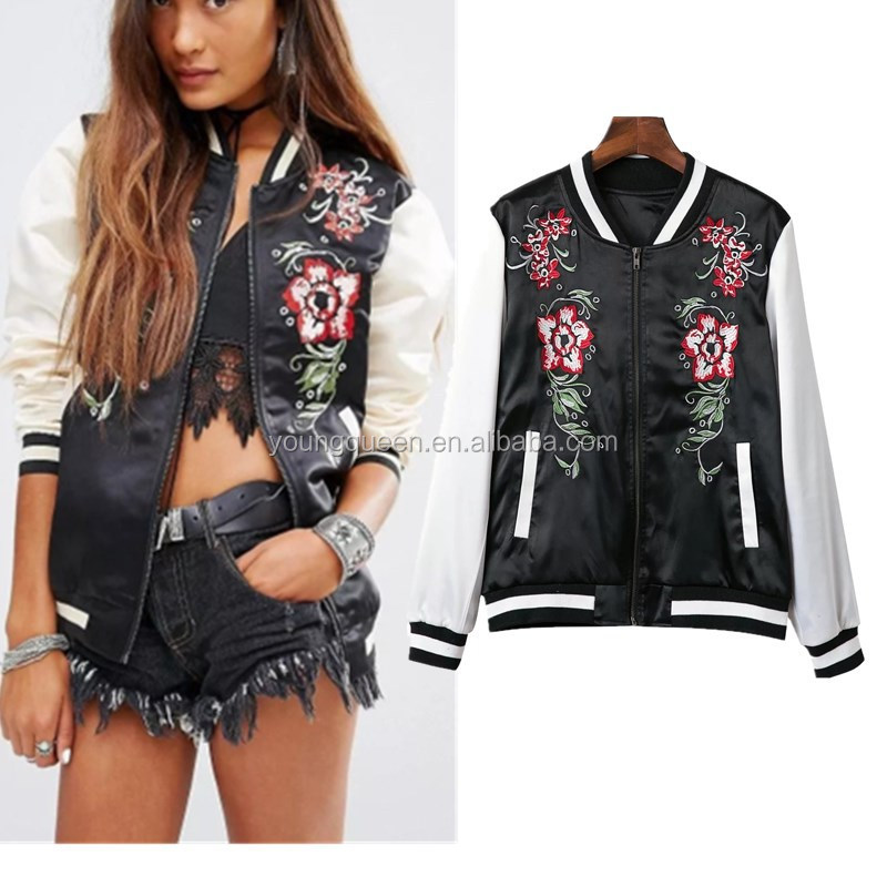 NZ89 fashion women coat embroidered bomber jacket double pocket