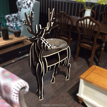 Wood stand free Eco-friendly christmas deer for home decor wooden deer
