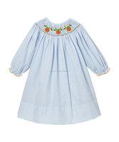 Blue Stripes Smocked Pumpkin Long Sleeve Dress