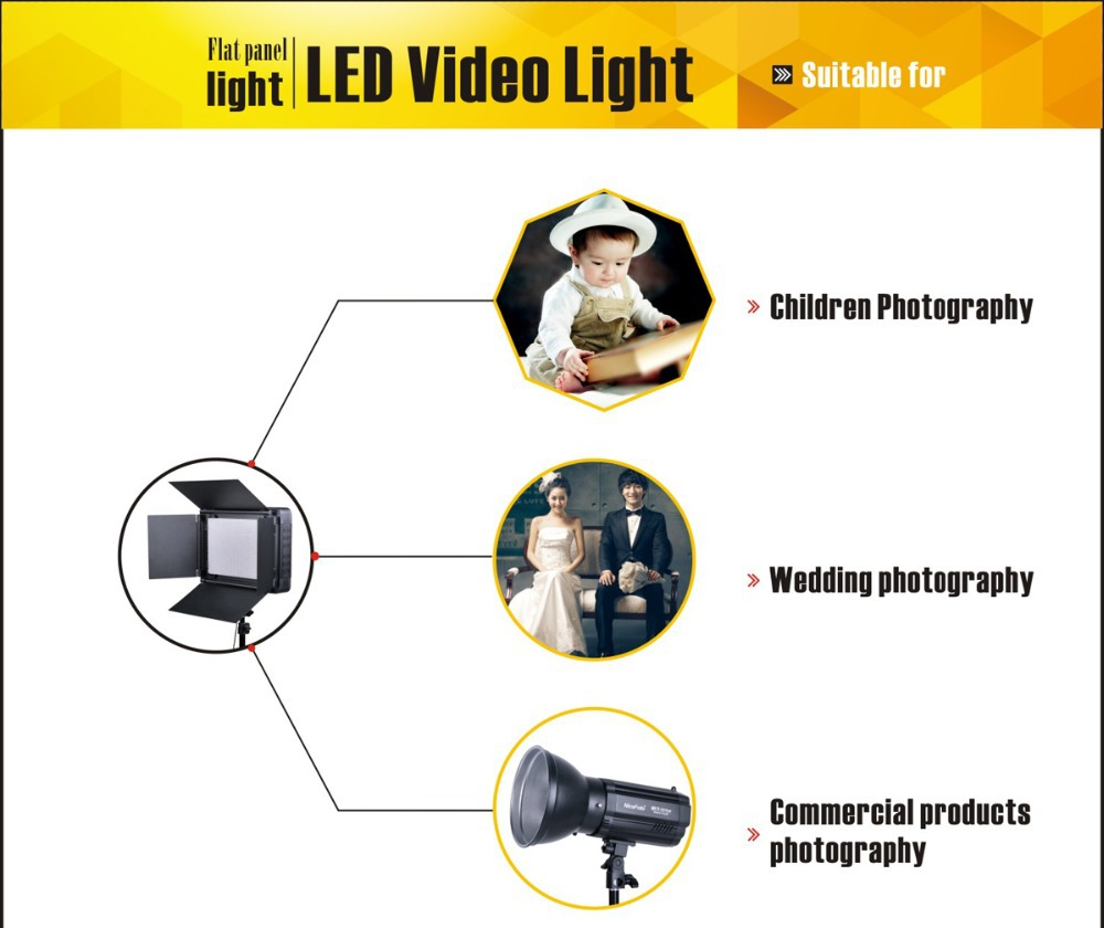 NiceFoto Professional studio photography flat panel led video light for photo,video and film