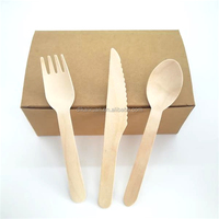 Disposable compostable wooden cutlery wholesale with paper box
