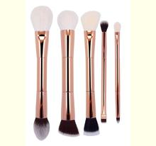 5 Pcs double face cheveux make up brosse plein or rose poignée en aluminium maquillage brosse ensemble