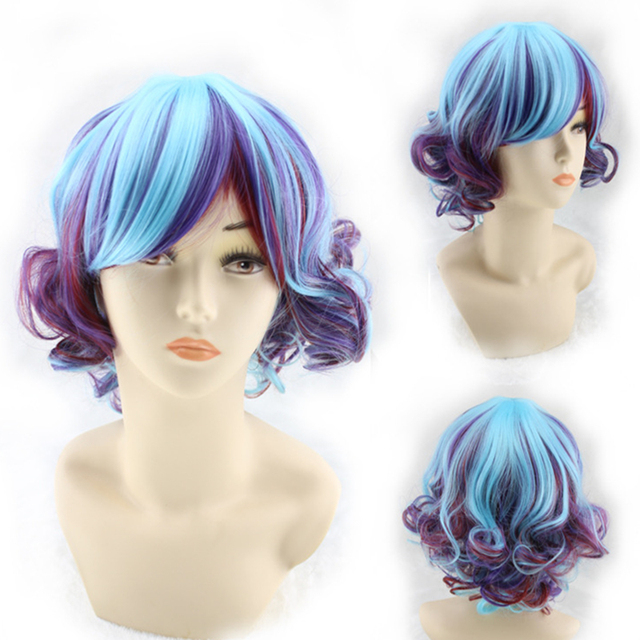 PGWG2097 New Design Gradient Synthetic Fiber Japanese Style Lolita Daily Short Curly Hair Cosplay Wig