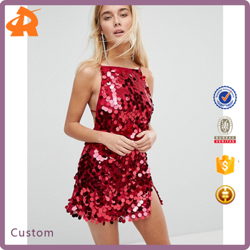 design your own red sequin shiny women night party dress,beautiful girl one piece dress
