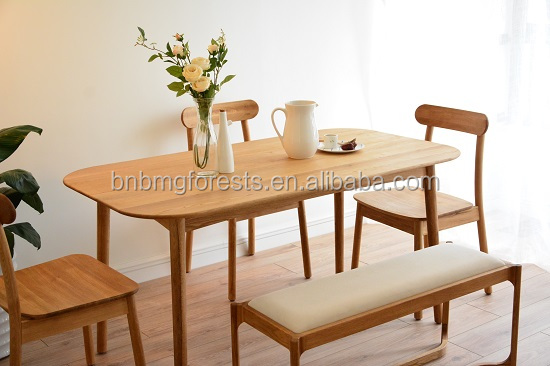 The 22nd China International Furniture Hot Sales Japanese Style Dining Table with Oak and Oak Veneer