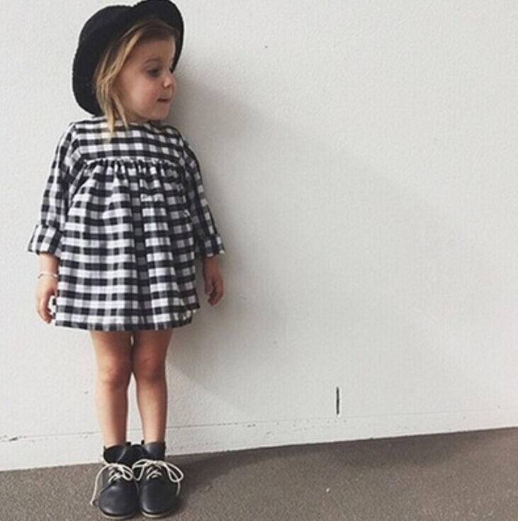 drop shippinglong sleeve dress girl child princess dress black and white checkered clothing girl baby clothes