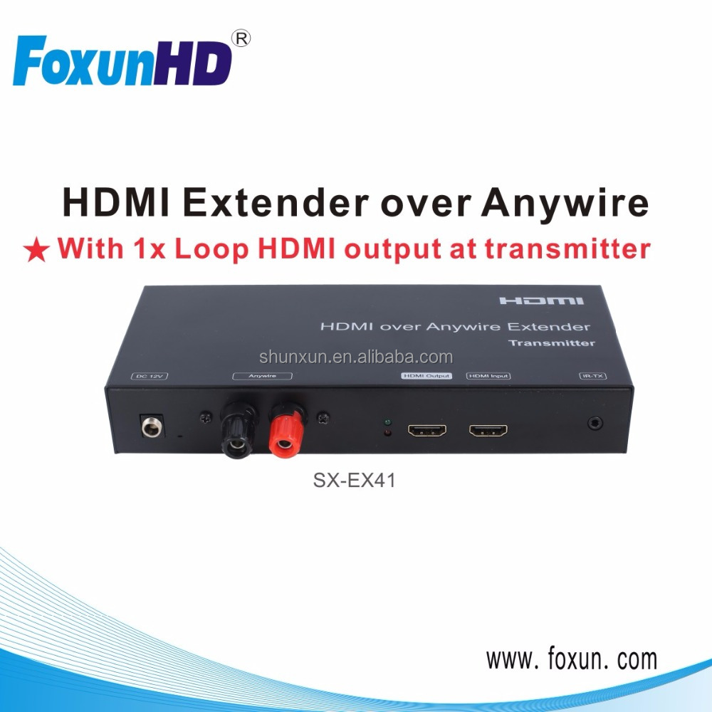 Foxun SX-EX41 rx tx hdmi extender via powerline Anywire Transmission more than 3800m