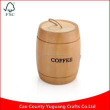 New Arrival coffee bean storage tank small decoration bucket wooden barrel
