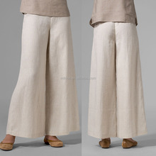 2017 Latest Linen Trousers Design Fashion Ladies Elegant Cotton Linen Ankle Length Wide Legs Pants Plus Size With Hidden Zipper