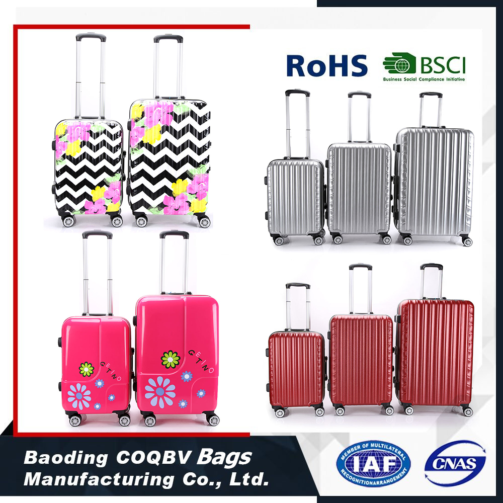 COQBV abs/pc travel luggage bag printed hard shell luggage factory price in stock
