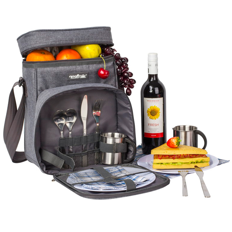 Customizable large capacity with cutlery package shoulder picnic outdoors travel bag