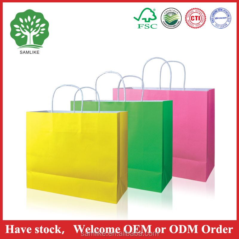 Newest design eco-friendly big white paper bag with handle