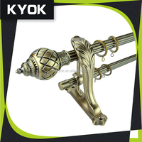 KYOK hot selling 25/28mm round curtain pipe, latest designs resin curtain end caps, strong wall curtain rod brackets