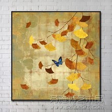 2016 The new design Chinese decorative oil painting of yellow leaves butterfly