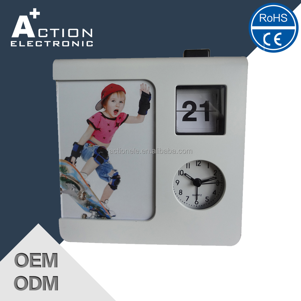 auto flip calendar clock with photo frame
