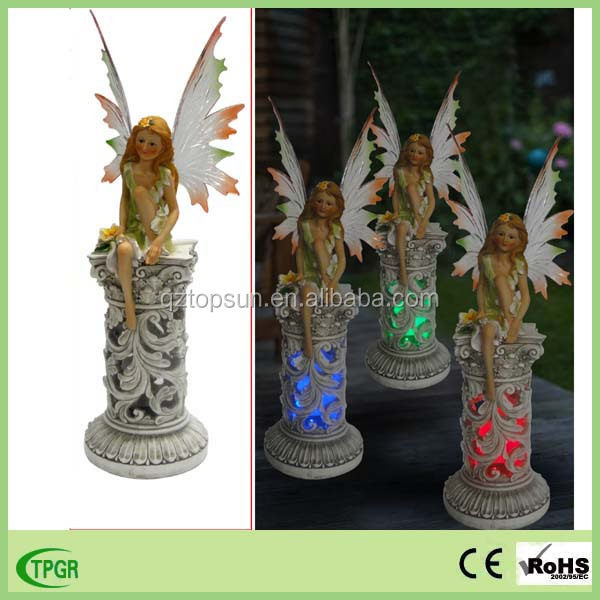 Factory directly wholesale resin fairy figurines solar garden light for outdoor decoration