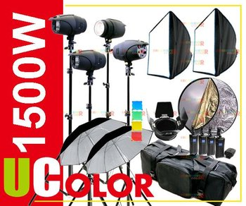 1500W Strobe Studio Flash Light Kit Fan Cooled Lighting Photography Set