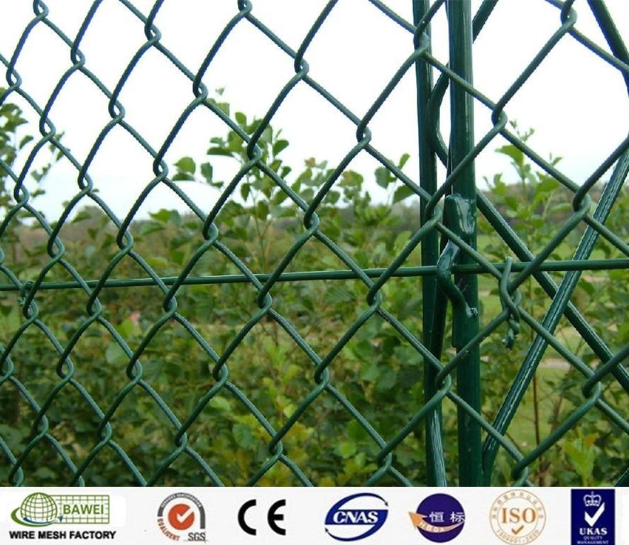 PVC coated iron diamond wire anti-corrosion chain link fence for farm