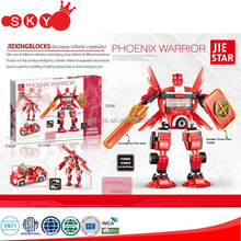 Plastic action warrior figture robot series of Phoenix Warrior building block for chilren game playing