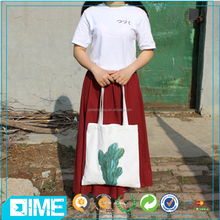 High Quality Recyclable Custom Printing Canvas Tote Bag With Long Handle
