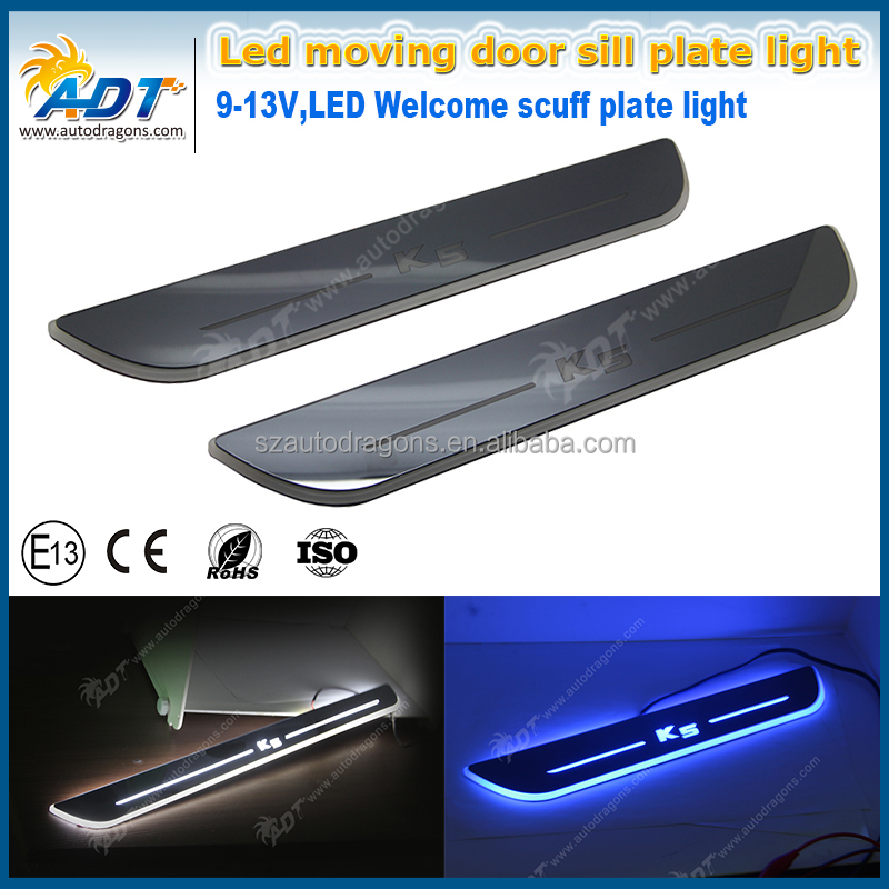 Waterproof Ultrathin Acrylic LED door sill for K5,2012-2015,Led moving door scuff plate light